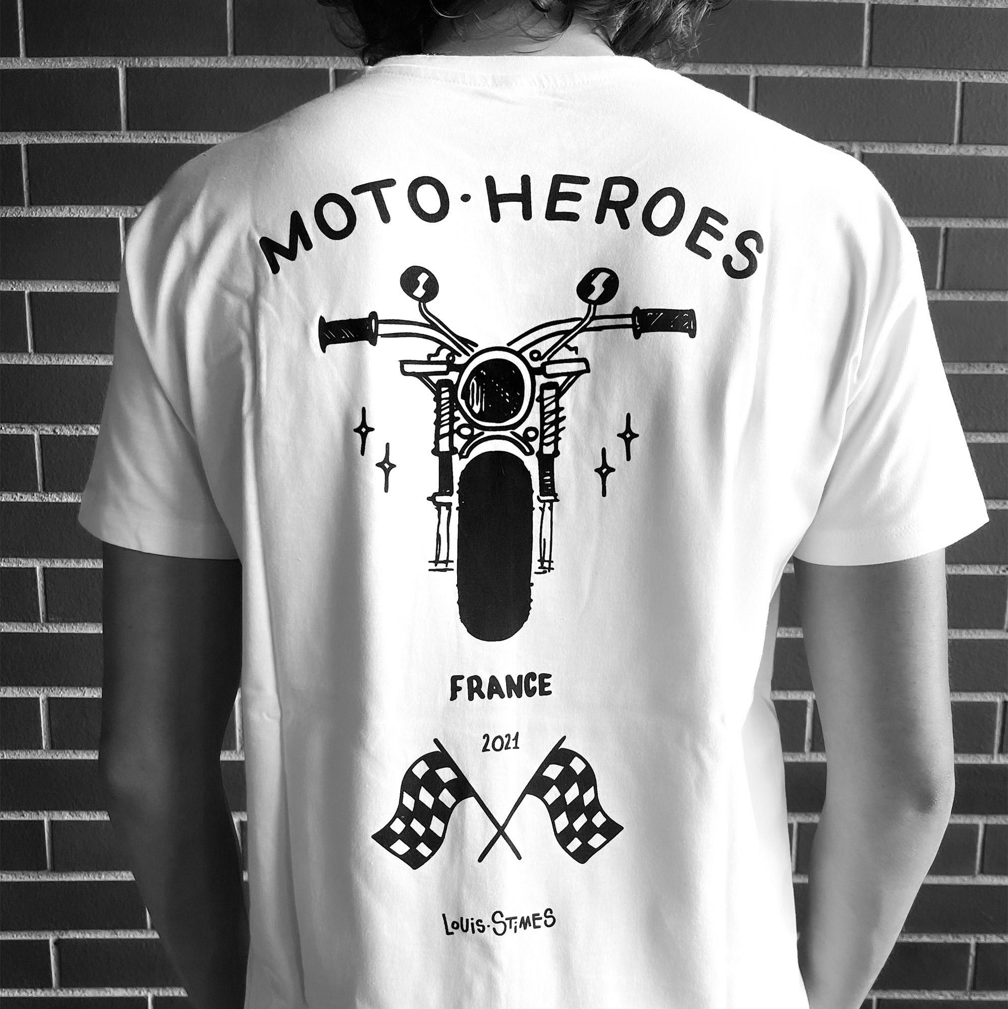 Tee-shirt Moto Heroes Louis Stimes moto noir
