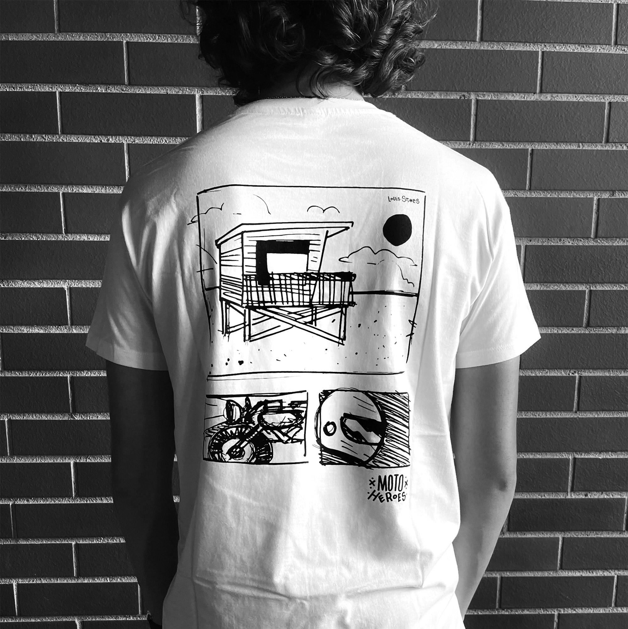 Tee-shirt Moto Heroes Louis Stimes Cabane blanc