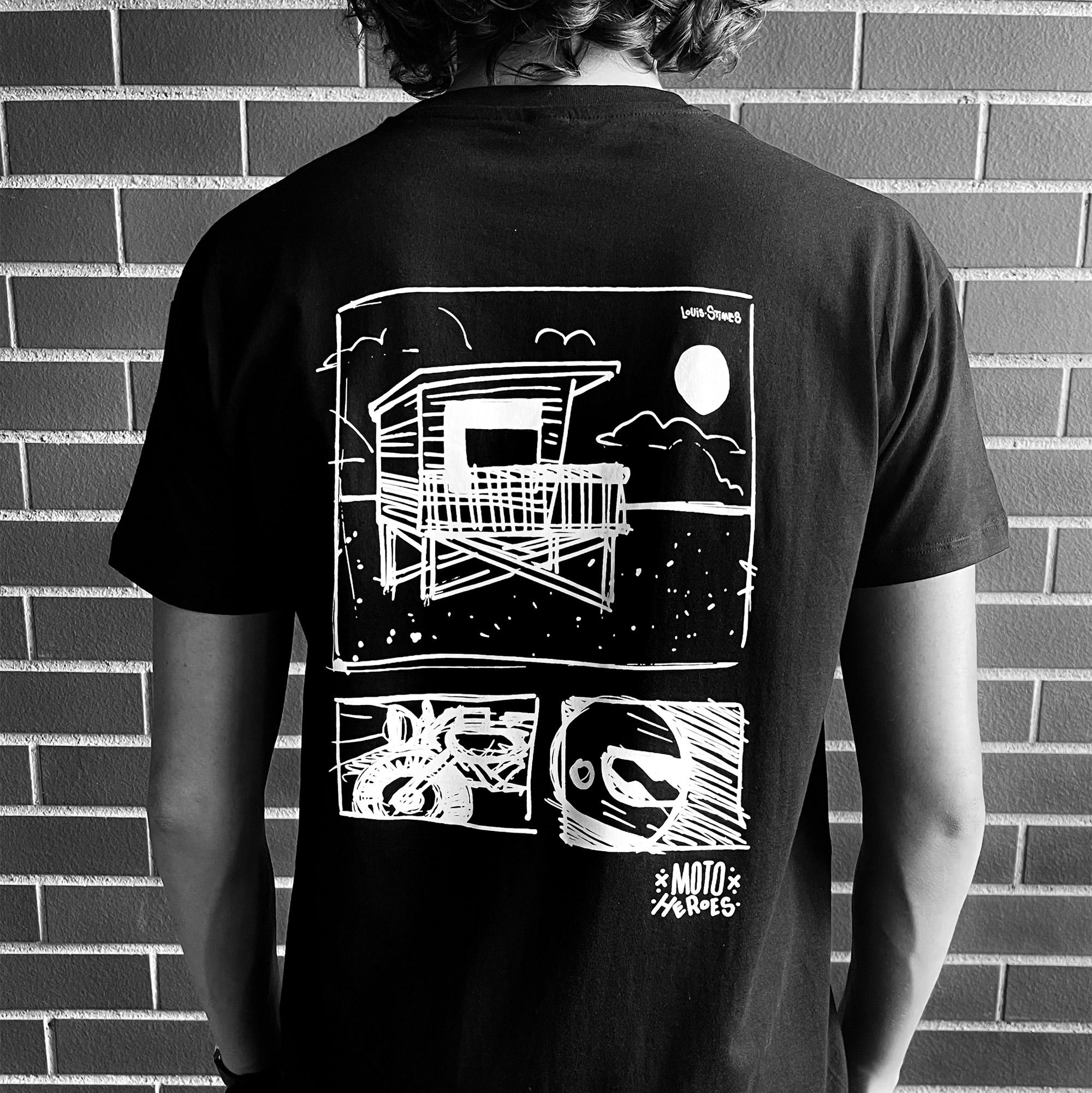 Tee-shirt Moto Heroes Louis Stimes Cabane noir